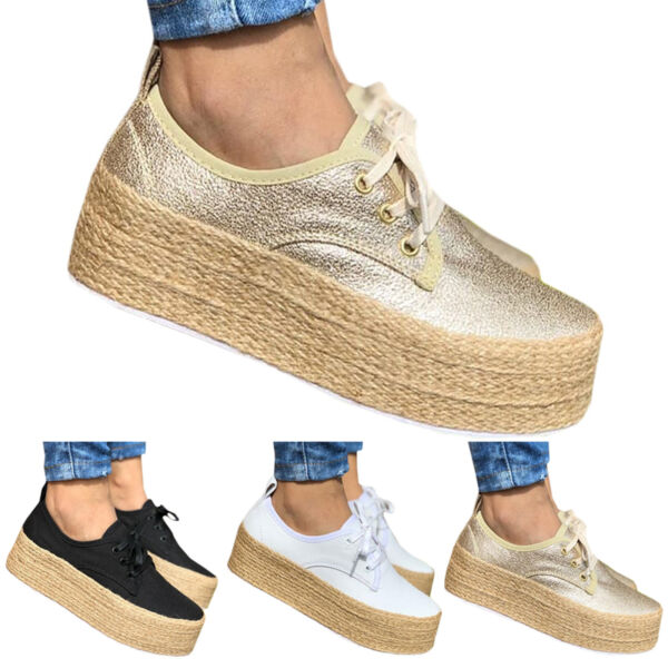 Womens Linen Platform Loafers Flats Pumps Lace Up Slip On Trainers Sneaker Shoes