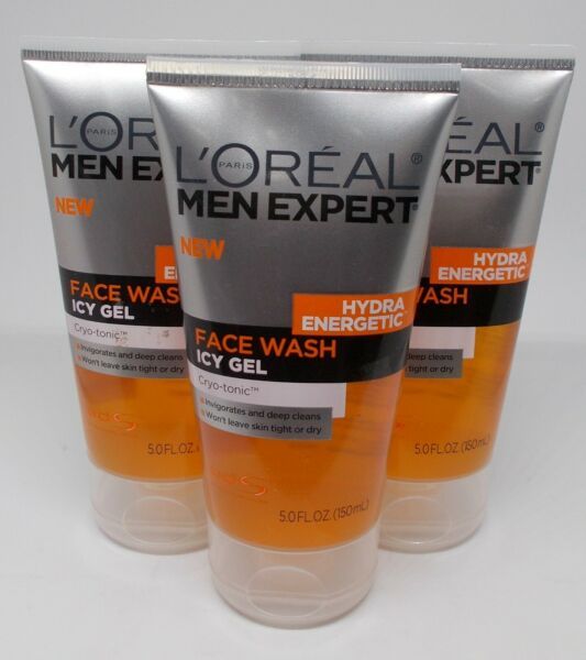 3 L'OREAL Men Expert Hydra-Energetic Face Wash ICY GEL 5 fl oz150 ml