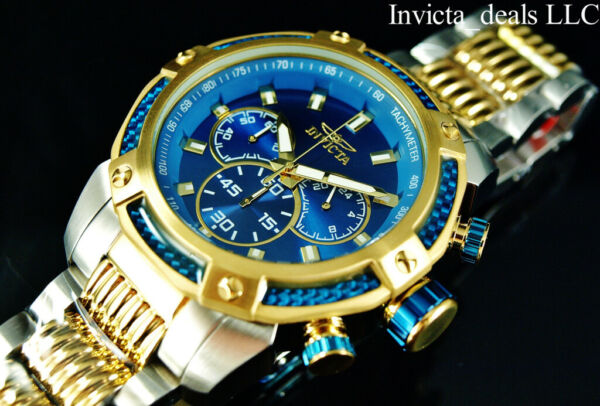 Invicta 48mm Speedway VIPER Chronograph Blue Dial 18K Gold Plated 2Tone SS Watch