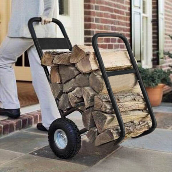 Outdoor Firewood Log Cart Carrier Fireplace Wood Fire Storage Rack Dolly Holder