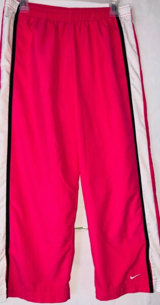 Nike Womens Size Medium M Pink Athletic Nylon Track Pants  Pockets A+ Condition