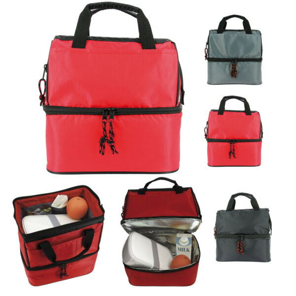 Koozie Lunch Pail Style Cooler Bag Two Spacious Thermal Insulated Compartments