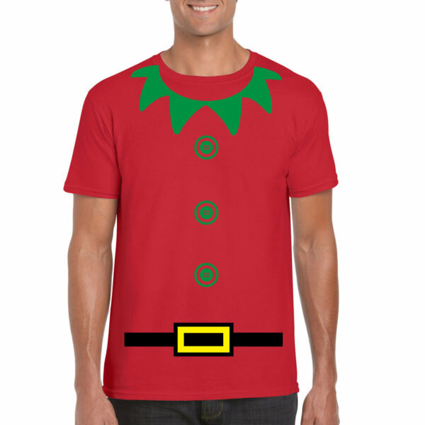 Mens Christmas t shirt Funny Elf novelty t shirt. Red Elf Costumes for parties