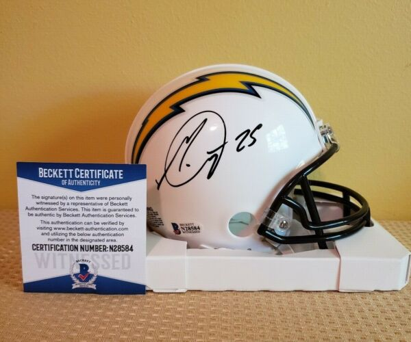 MELVIN GORDON AUTOGRAPH SIGNED CHARGERS MINI HELMET INCLUDES BECKETT