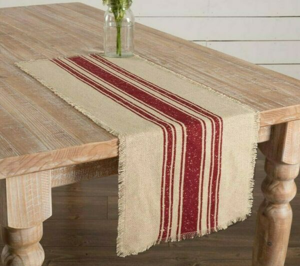 Farmhouse FEED SACK Burlap Table Runner Dark RED STRIPES Primitive 36quot; Stripe