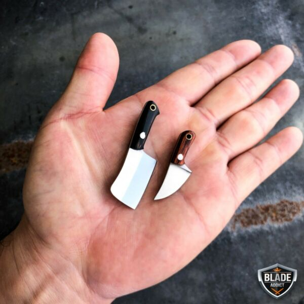 WORLDS SMALLEST WORKING FIXED BLADE KNIFE Tiny Miniature CLEAVER Pocket Knife