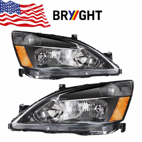 FOR HONDA ACCORD 2003 2007 2DR 4DR JDM BLACK HOUSING AMBER CORNER HEADLIGHTS