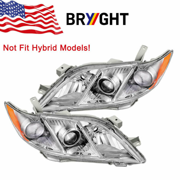 Headlights Assembly for 2007-2009 Toyota Camry  Headlamps Replacement Pair Set