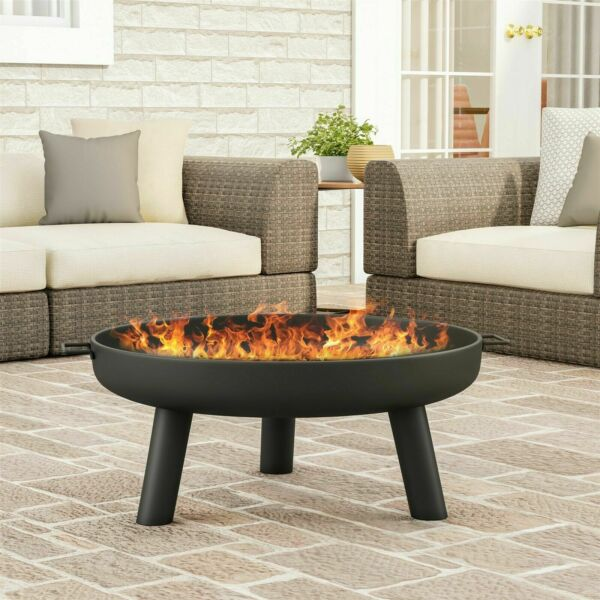 Fire Pit Round Steel Raised Bowl Wood Burning Backyard Patio Storage Cover