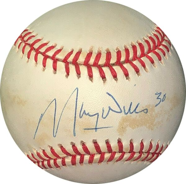 Maury Wills signed RONL Official NL Baseball minor tone spots- JSA #EE41650