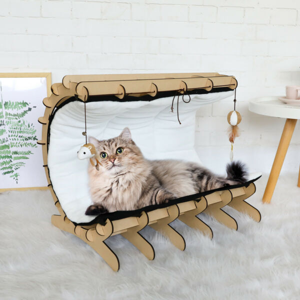 Pet Furniture Cat Bed Warm Hammock Home Castle Removable Cover with Toys Wooden $20.49