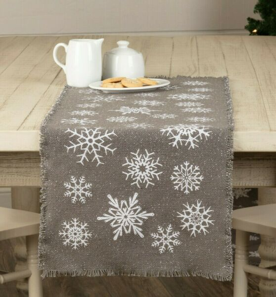Burlap SNOWFLAKE GRAY Table Runner 13quot; x 36quot; Winter Primitive Farmhouse Rustic