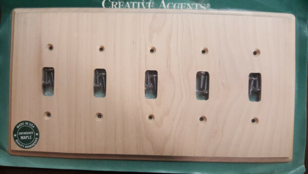 Maple wood Switch Plate Unfinished 5 Toggle RUSTIC NATURAL CABIN WALLPLATE NEW $7.99