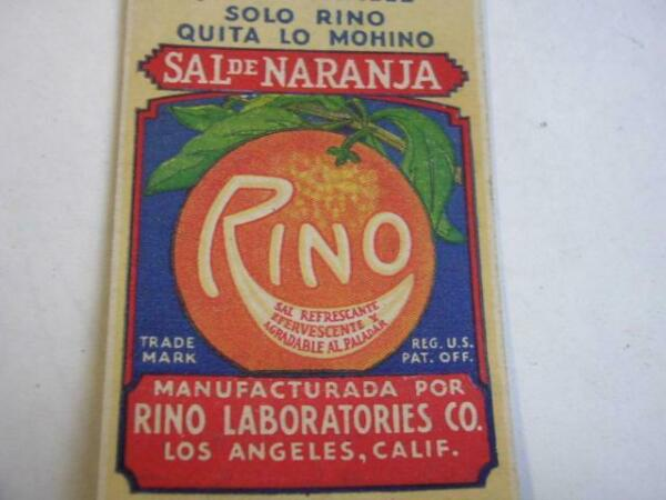 1930 RINO Orange Salt Sal de Naranja Los Angeles CA SALESMANS SAMPLE Matchcover