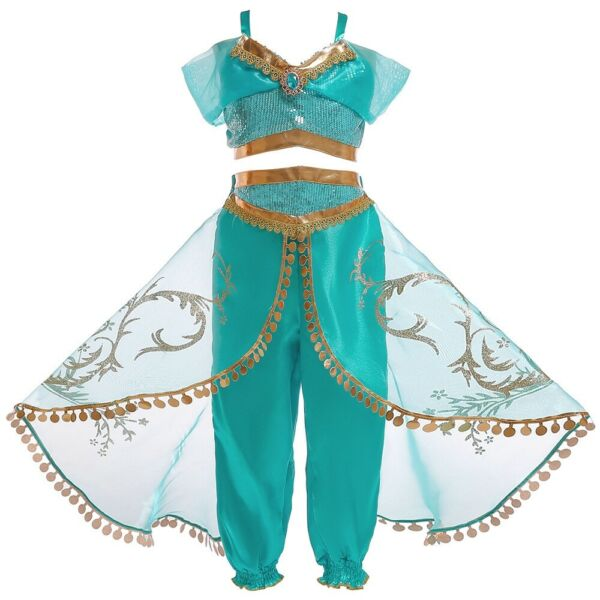 Girls Princess Jasmine Costume Halloween Party Dress Up for girls 2-10 Years