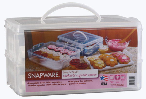 Snapware Snap #x27;N Stack Large 2 Layer Cookie and Cupcake Carrier