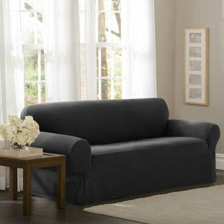 Maytex Stretch Pixel 1 Piece Sofa Furniture Cover Slipcover Charcoal $39.99