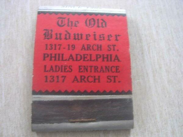 1940#x27;s The Old Budweiser 1317 19 Arch St Philadelphia Penn PA Empty Matchbook