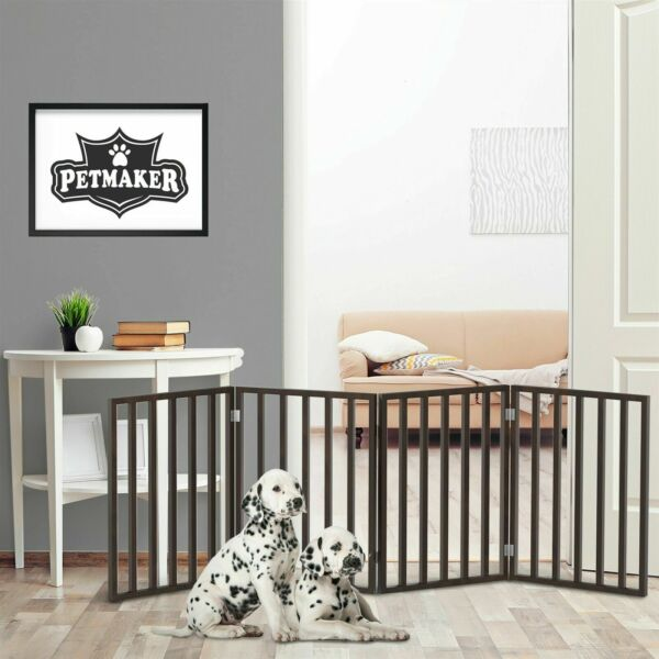 Free Standing Wooden Pet Folding Gate 72 x 24 inches 4 Panels Room Dog Barrier $49.99