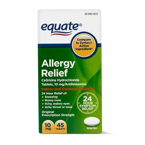Equate Allergy Relief Cetirizine Antihistamine Tablets, 10 mg, 45 Ct, Exp 09/20