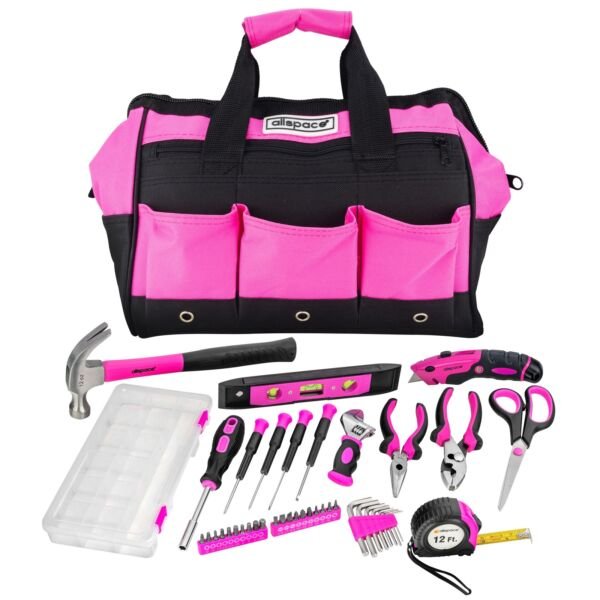 Allspace 43 Piece Home and Office Pink Essentials Tool Set with Tool Bag -240214