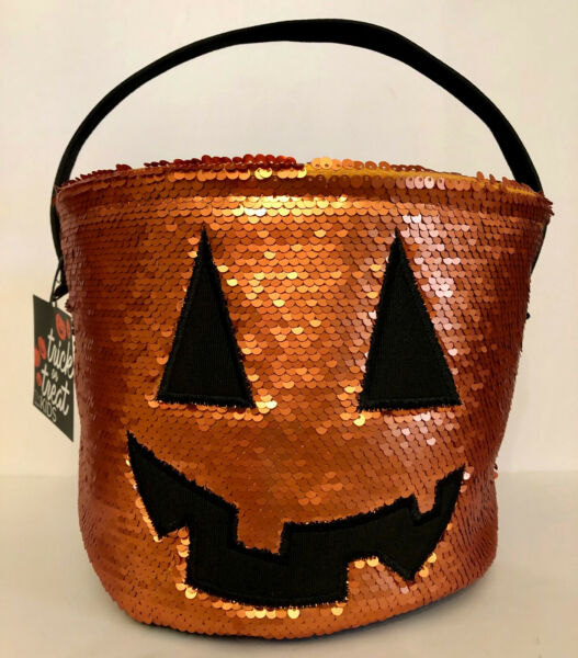 ORANGE SEQUINED HALLOWEEN CANVAS TOTE BAG FOR TRICK OR TREAT.  SUPER CUTE!