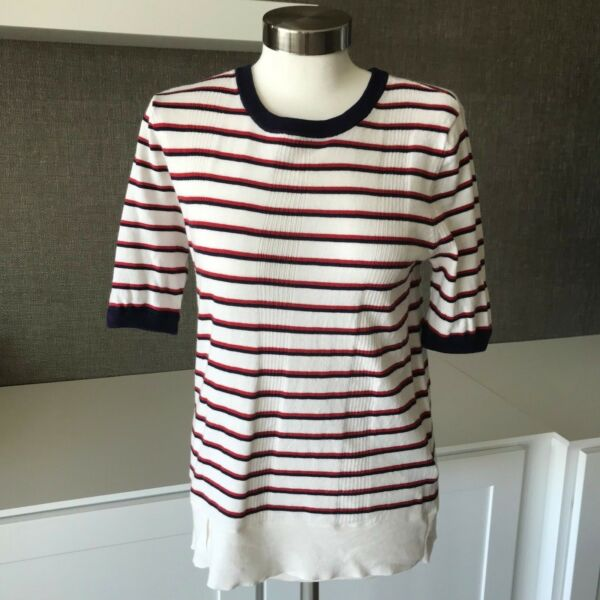 Equipment Femme Size Medium Stripe Short Sleeve Knit Top Pullover