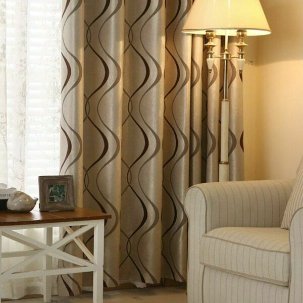 Kitchen Curtains Living Room Bedroom Decoration Blackout Luxury Wavy Striped