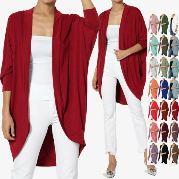 TheMogan S~3X Cocoon Draped Jersey Knit 34 Sleeve Oversized Open Front Cardigan