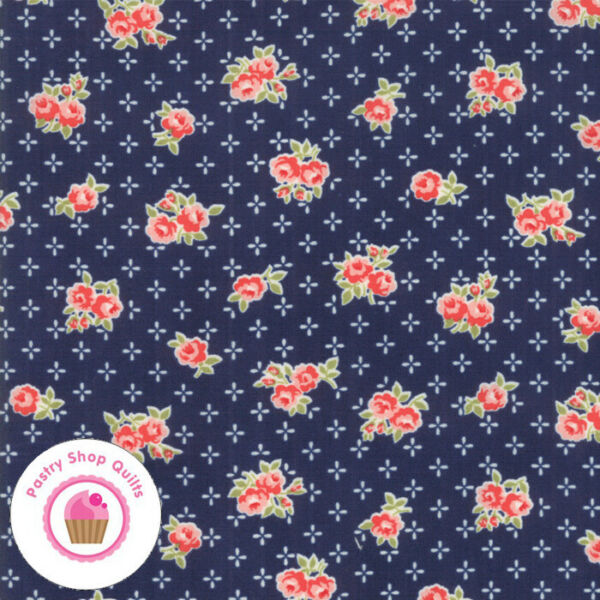 Moda EARLY BIRD 55191 15 Navy Red Floral BONNIE amp; CAMILLE Quilt Fabric