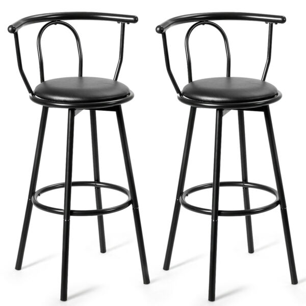 Set of 2 Bar Stools Counter Pub Chairs Swivel Seat Metal Frame w Footrest Black