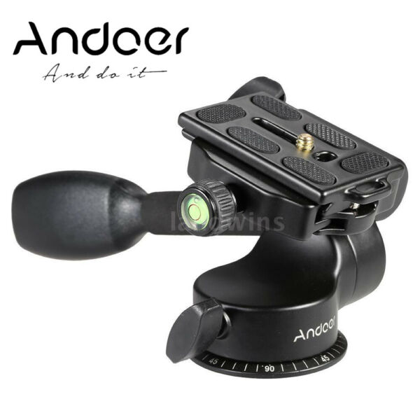 Andoer Video Tripod Ball Head Fluid Head Rocker Arm w QR Plate For DSLR Camera