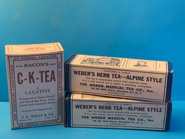 Vtg Bacon#x27;s Trademark C K Tea And Two Weber#x27;s Herb Tea Alpine Style In Boxes