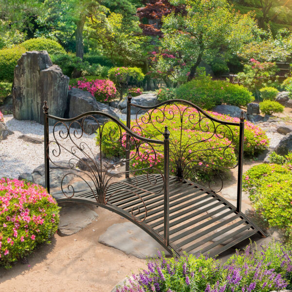 4 Foot Curved Outdoor Metal Decorative Pond Garden Bridge Black Bronze