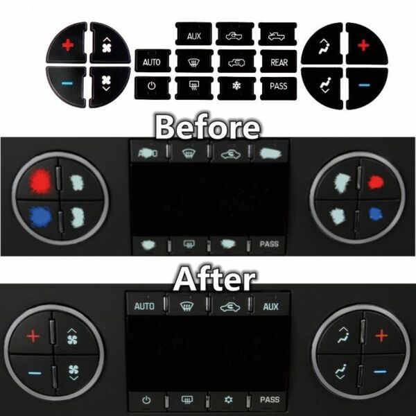 AC Dash Button Repair Kit Decal Stickers Replacement for Chevrolet GMC Tahoe A+