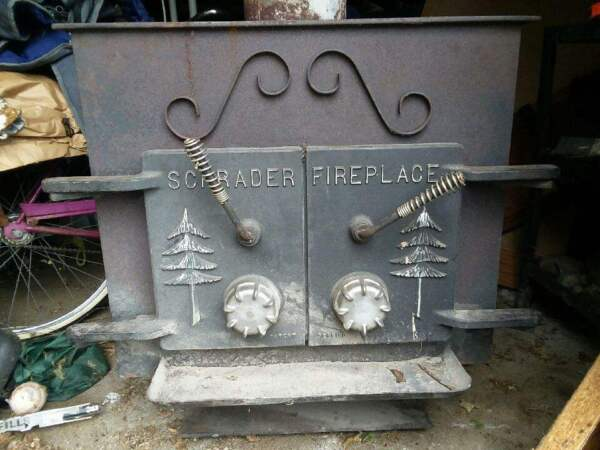 Vintage Schrader Wood Stove Fire Place