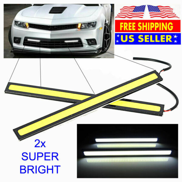 2x Bright White Car COB Waterproof LED Lights 12V DRL Fog Driving Lamp Strip