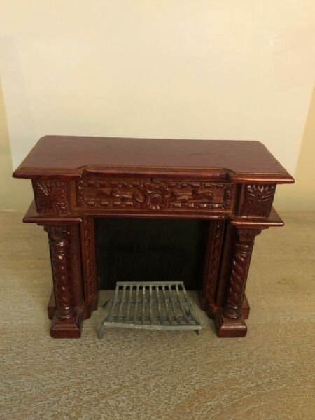 Vintage Fireplace With Grate Mahogany Finish 1:12 Scale Dollhouse Miniature