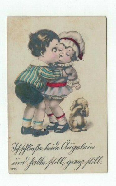 Antique Foreign Post Card Children Kiss while Dog Covers his Eyes $1.99