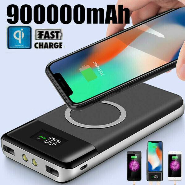 Qi 900000mAh Power Bank Wireless Charging 2USB LCD Charger Portable Battery Pack