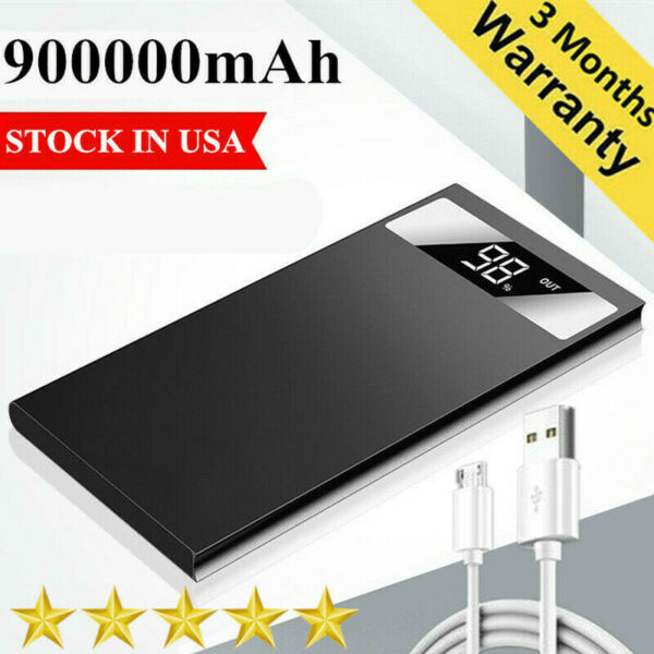 Ultra-thin Portable 900000mAh Power Bank Fast Charging External Battery Charger