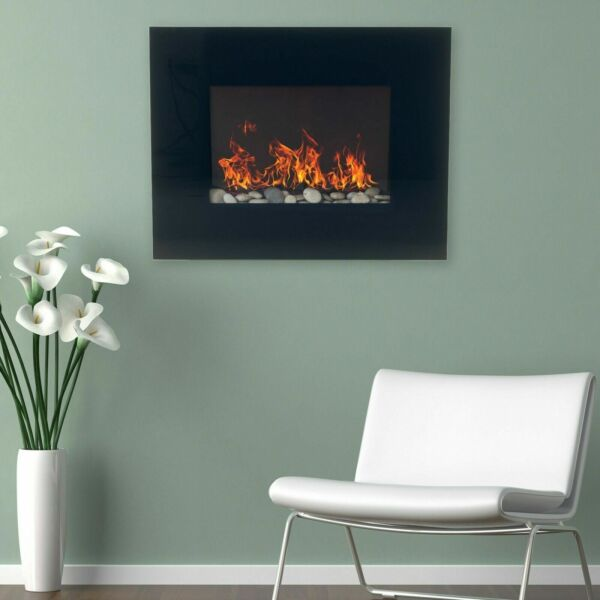 Black Glass Panel Electric Fireplace Wall Mount amp; Remote 26 x 20 Inch 1500W