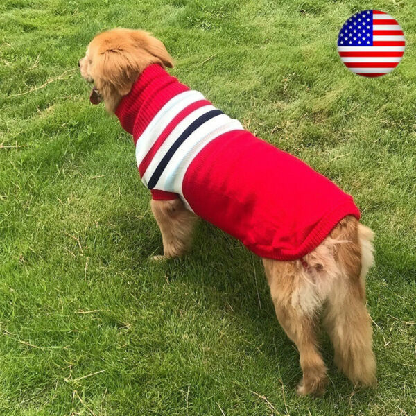 XXS 3XL Winter Big Dog Sweater Pet Small Dog Puppy Clothes 4 Colors Warm Sweater $14.28