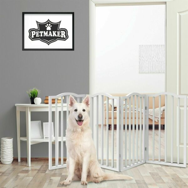 Tall Free Standing Wooden Folding Pet Dog Gate 72 x 32 inches 4 Panels Long $62.99