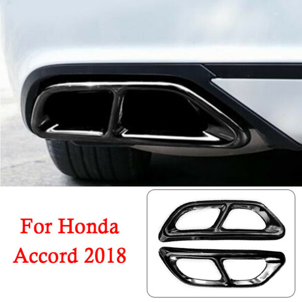 Black Titanium Rear Cylinder Exhaust Pipe Cover Trim For Accord 2018 2019