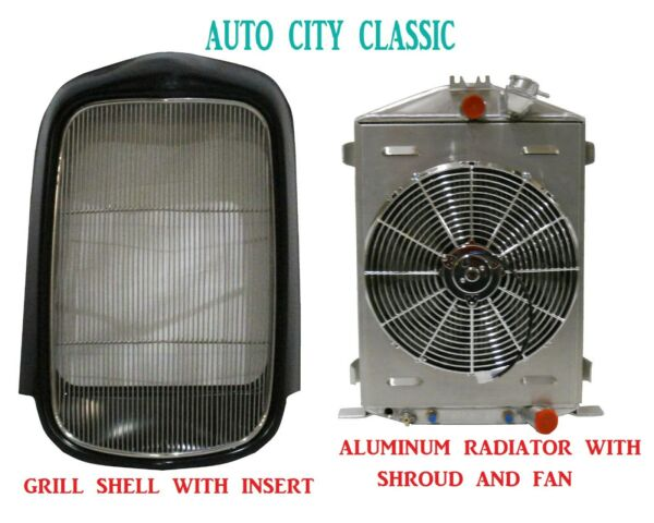 1932 Ford Grill Shell Radiator amp; Fan Smooth Steel Full Height Aluminum