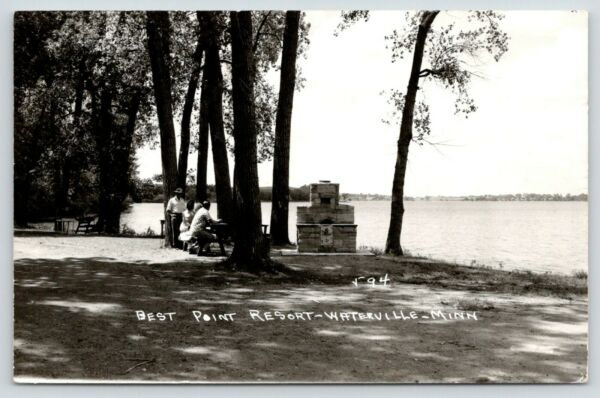 Waterville Minnesota~Best Point Resort~Fireplace Grill on Lake~Picnic~1959 RPPC