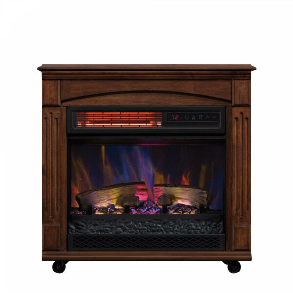 New ChimneyFree Rolling Mantel Infrared Quartz Electric Fireplace Space Heater