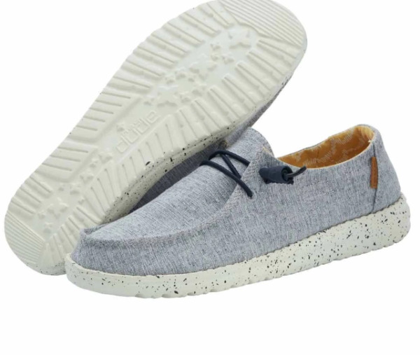 HEY DUDE WENDY LINEN CHAMBRAY WHITE BLUE COMFORT SHOES