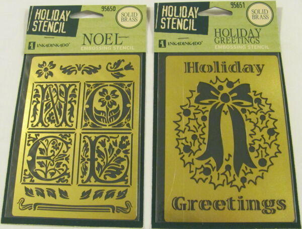 2 Solid Brass Embossing Template Stencil - Holiday Greetings & NOEL Ships Free